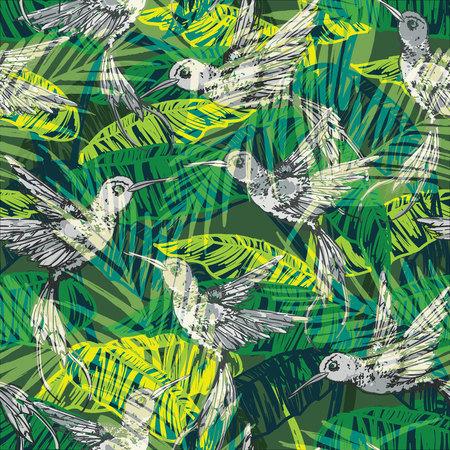 Ilustración de Seamless exotic pattern with abstract palm leaves and colibri. Vector hand draw illustration - Imagen libre de derechos