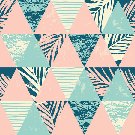 Foto de Seamless exotic pattern with palm leaves on geometric background . Vector illustration. - Imagen libre de derechos