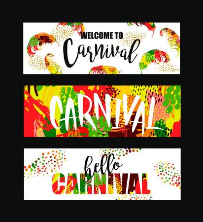 Illustration pour Carnival. Bright festive banners trending abstract style. Vector illustration - image libre de droit