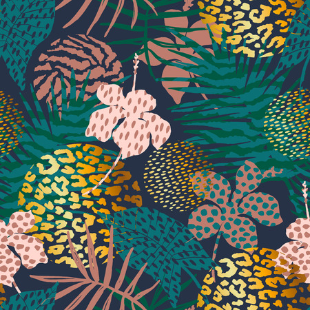 Illustration for Trendy seamless exotic pattern with palm, animal prints and hand drawn textures. Vector illustration. Modern abstract design for paper, wallpaper, cover, fabric, Interior decor and other users. - Royalty Free Image