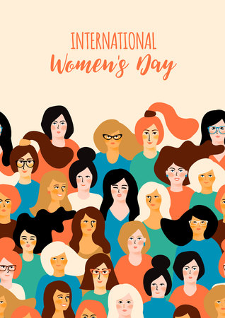 Illustration pour International Womens Day. Vector template with for card, poster, flyer and other users - image libre de droit
