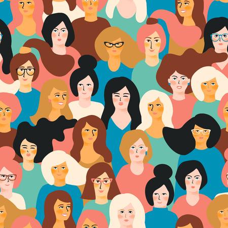 Illustration pour International Women's Day vector seamless pattern with female faces. - image libre de droit