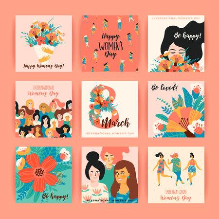 Ilustración de International Women's Day vector templates. - Imagen libre de derechos