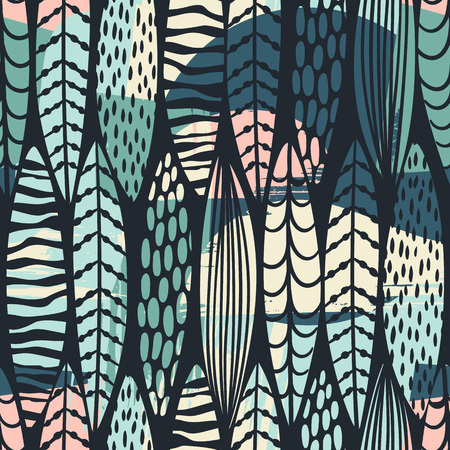 Illustration pour Tribal seamless pattern with abstract leaves. Hand draw texture. - image libre de droit