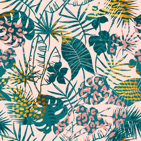 Illustration for Trendy seamless exotic pattern tropical plants, animal prints and hand drawn textures. - Royalty Free Image