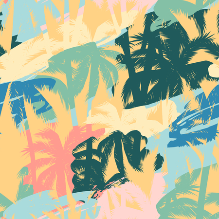 Illustration for Seamless exotic pattern with tropical plants and artistic background - Royalty Free Image