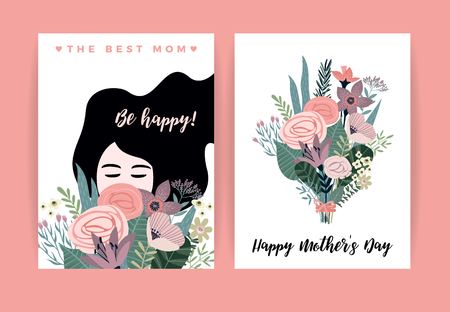 Illustration for Happy Mothers Day. Vector illustration with woman and flowers. Design element for card, poster, banner, and other use. - Royalty Free Image