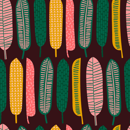 Abstract seamless pattern with tropical leaves.のイラスト素材