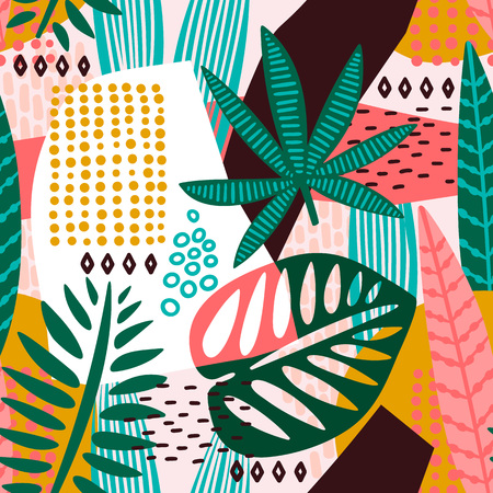 Ilustración de Abstract seamless pattern with tropical leaves. Hand draw texture. Vector template. - Imagen libre de derechos