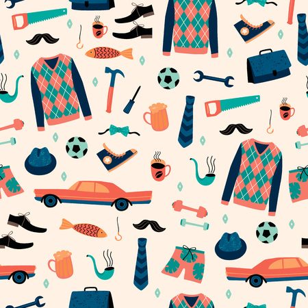Illustration pour Vector seamless pattern with mans things. Happy Fathers Day concept. - image libre de droit