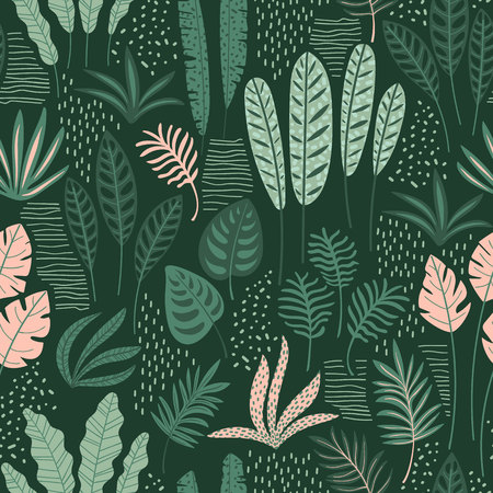 Illustration pour Abstract seamless pattern with tropical leaves. Hand draw texture. - image libre de droit