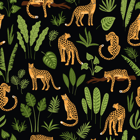 Illustration for Vestor seamless pattern with leopards and tropical leaves. Trendy style. - Royalty Free Image