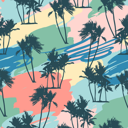 Illustration for Seamless tropical pattern with palms and artistic background. - Royalty Free Image