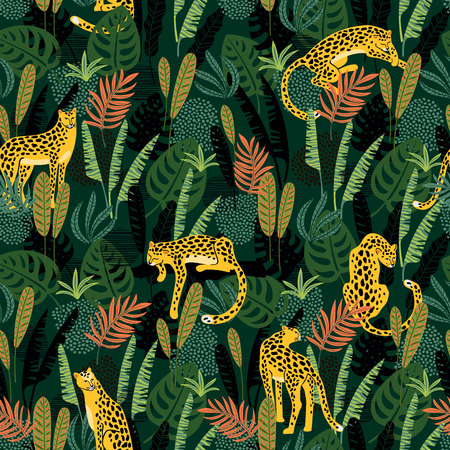 Illustration for Vestor seamless pattern with leopards and tropical leaves. - Royalty Free Image