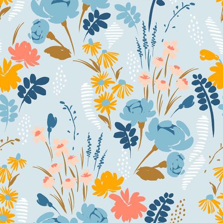Ilustración de Floral abstract seamless pattern. Vector design for paper, cover, fabric, interior decor and other users - Imagen libre de derechos