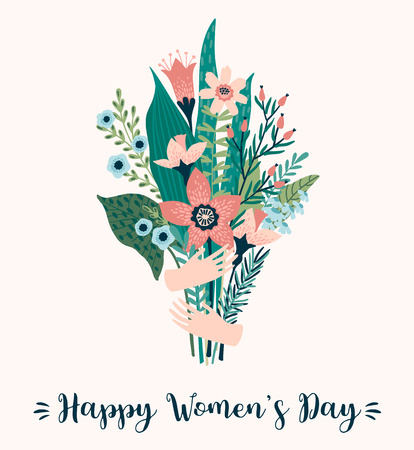 Illustration pour International Women s Day. Vector template with bouquet of flowers for card, poster, flyer and other users - image libre de droit