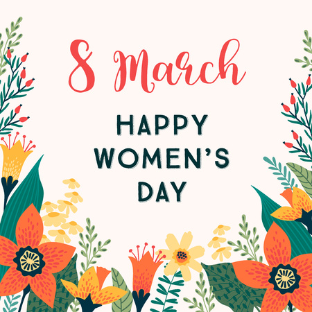 Illustration pour International Women s Day. Vector template with flowers for card, poster, flyer and other users - image libre de droit