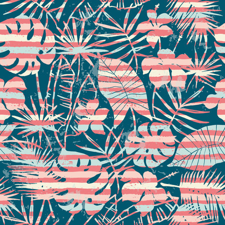 Illustration for Seamless exotic pattern with tropical plants and stripes background. Modern abstract design for paper, cover, fabric, interior decor and other users. - Royalty Free Image