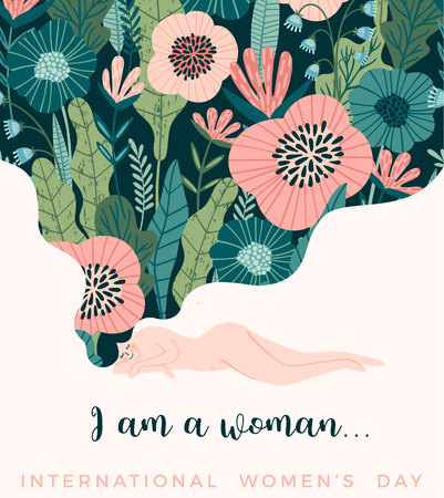 Illustration pour International Women s Day. Vector template with cute woman for card, poster, flyer and other users - image libre de droit