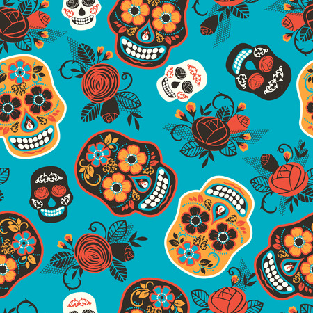 Illustration for Dia de los muertos. Day of The Dead. Seamless pattern. Vector template. - Royalty Free Image