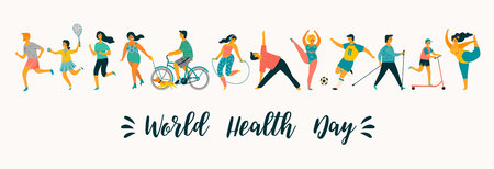 Ilustración de World Health Day. Vector illustration of people leading an active healthy lifestyle. Design element. - Imagen libre de derechos