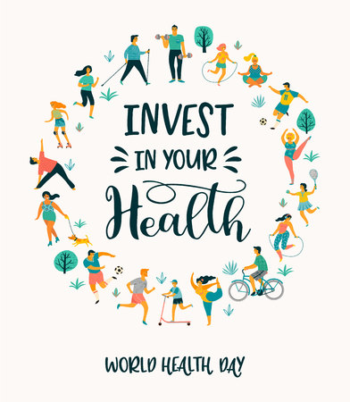 Illustration for World Health Day. Vector illustration of people leading an active healthy lifestyle. Design element. - Royalty Free Image