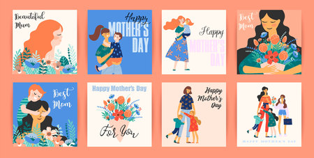 Illustration for Happy Mothers Day. Vector templates with women and children. Design element for card, poster, banner, and other use. - Royalty Free Image