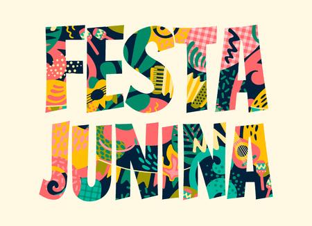 Ilustración de Latin American holiday, the June party of Brazil. Festa Junina. Vector illustration - Imagen libre de derechos