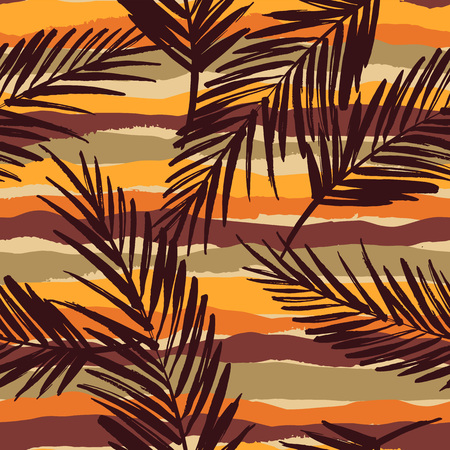 Abstract seamless pattern with tropical leaves. Hand draw texture. Vector template.のイラスト素材
