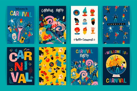 Illustration for Hello Carnival. Vector set of illustrations for carnival concept and other use. - Royalty Free Image