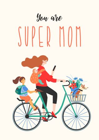 Illustration pour Happy Mothers Day. Super Mom on a bicycle with children and a dog. Vector illustration for card, poster, banner, and other use. - image libre de droit