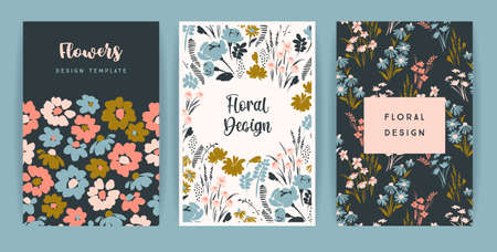 Illustration for Set of vector floral design. Template for card, poster, flyer, home decor and other - Royalty Free Image