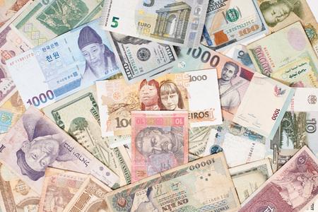 Photo pour many different currencies as colorful background concept global money - image libre de droit