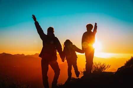Photo for father with kids travel in sunset mountains, happy family in nature - Royalty Free Image