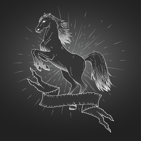 Vector hand drawn illustration with rearing horse, tattered banner and rays. In dark colors.