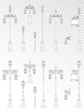 Vector set of street lights on transparent background. Collection in flat style. Monochrome.