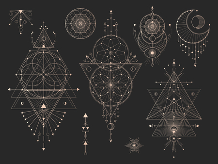 Illustration for Vector set of Sacred geometric symbols with moon, eye, arrows, dreamcatcher and figures on black background. Gold abstract mystic signs collection drawn in lines. For you design: tattoo, print, posters, t-shirts, textiles and magic craft. - Royalty Free Image