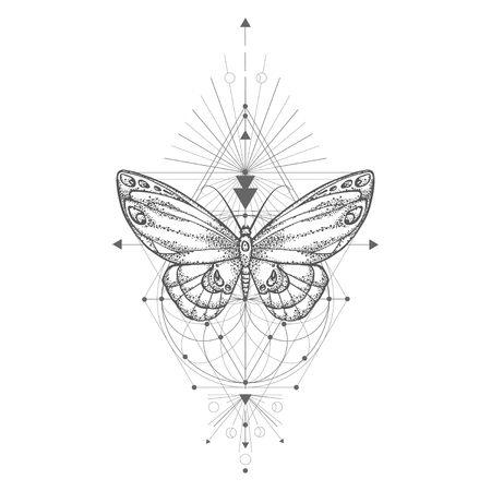 Illustration pour Vector illustration with hand drawn butterfly and Sacred geometric symbol on white background. Abstract mystic sign. Black linear shape. For you design, tattoo or magic craft. - image libre de droit