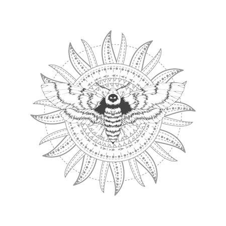 Illustration for Vector illustration with hand drawn dead head moth and Sacred symbol on white background. Abstract mystic sign. Black linear shape. For you design, tattoo or magic craft. - Royalty Free Image