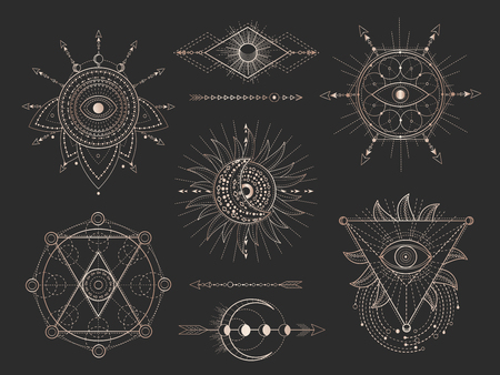 Illustration pour Vector set of Sacred geometric symbols and figures on black background. Gold abstract mystic signs collection drawn in lines. For you design: tattoo, print, posters, t shirts, textiles and magic craft - image libre de droit