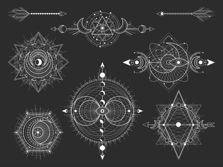 Illustration pour Vector set of Sacred geometric symbols and figures on black background. Abstract mystic signs collection. White linear shapes. For you design: tattoo, posters, t-shirts, textiles or magic craft. - image libre de droit