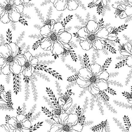 Illustration pour Vector seamless pattern with hand drawn flowers. Floral monochrome backgrounds. - image libre de droit