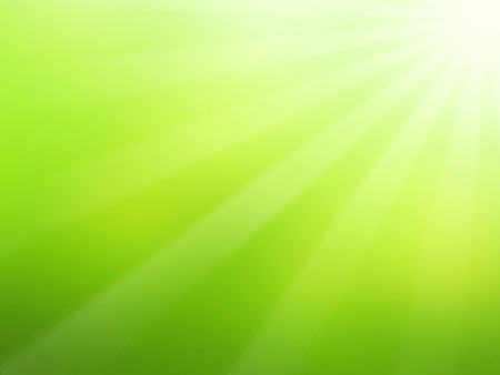 Green spring background with sun and sunrays