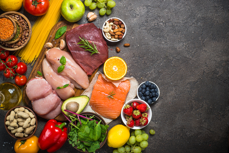 Foto de Balanced diet food background. - Imagen libre de derechos