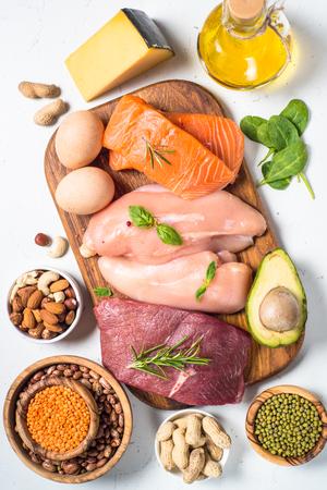 Foto de Protein sources - meat, fish, cheese, nuts, beans and greens. - Imagen libre de derechos