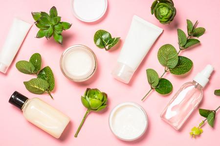 Photo pour Skin care product, natural cosmetic flat lay. - image libre de droit