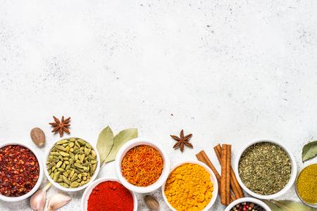 Photo pour Spices on white stone table. - image libre de droit
