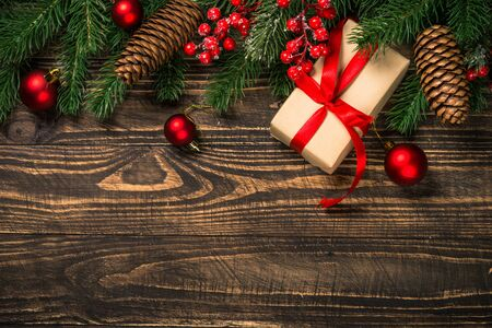 Photo pour Christmas flat lay background with present and decorations. - image libre de droit