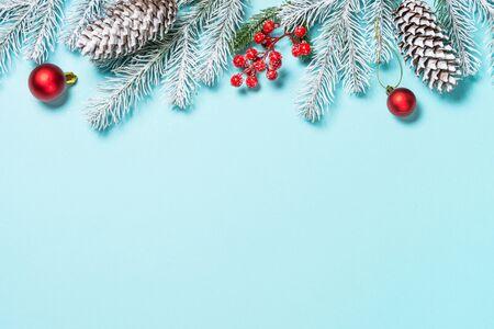 Photo pour Christmas flat lay background on blue. - image libre de droit