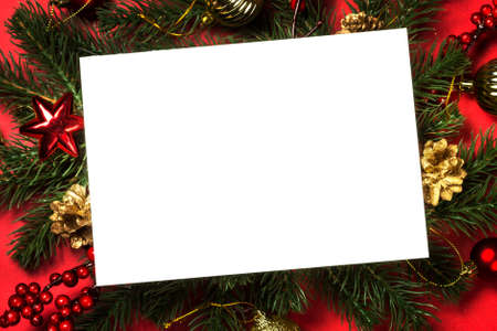 Photo pour Christmas flat lay background with fir tree and decorations. - image libre de droit